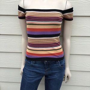 BCBG MaxAzria Off-shoulder Multi-stripe knit top